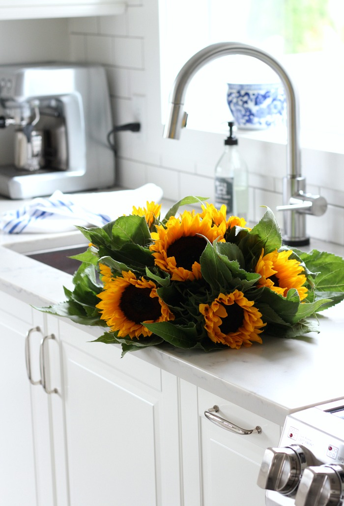 Fall Home Tour - Bright and Cheery Sunflowers in the Kitchen - Satori Design for Living