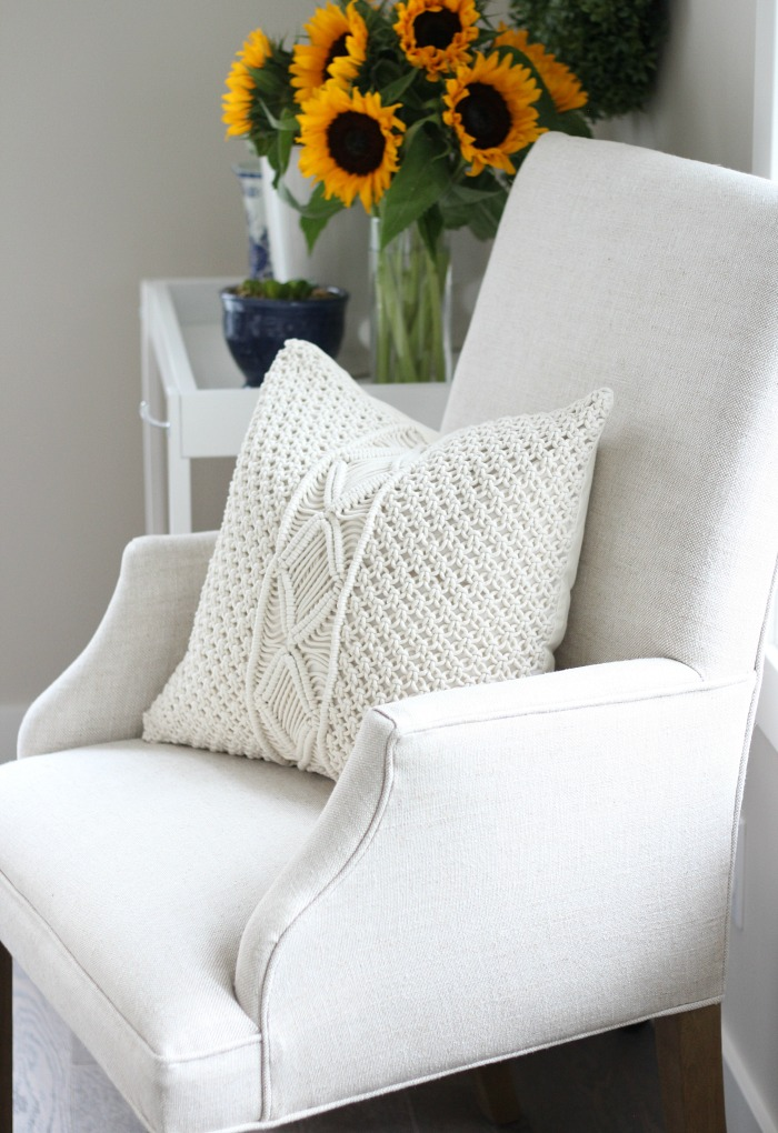 Fall Home Tour - Boho Style Macrame Pillow and Linen Upholstered Dining Chair - Satori Design for Living