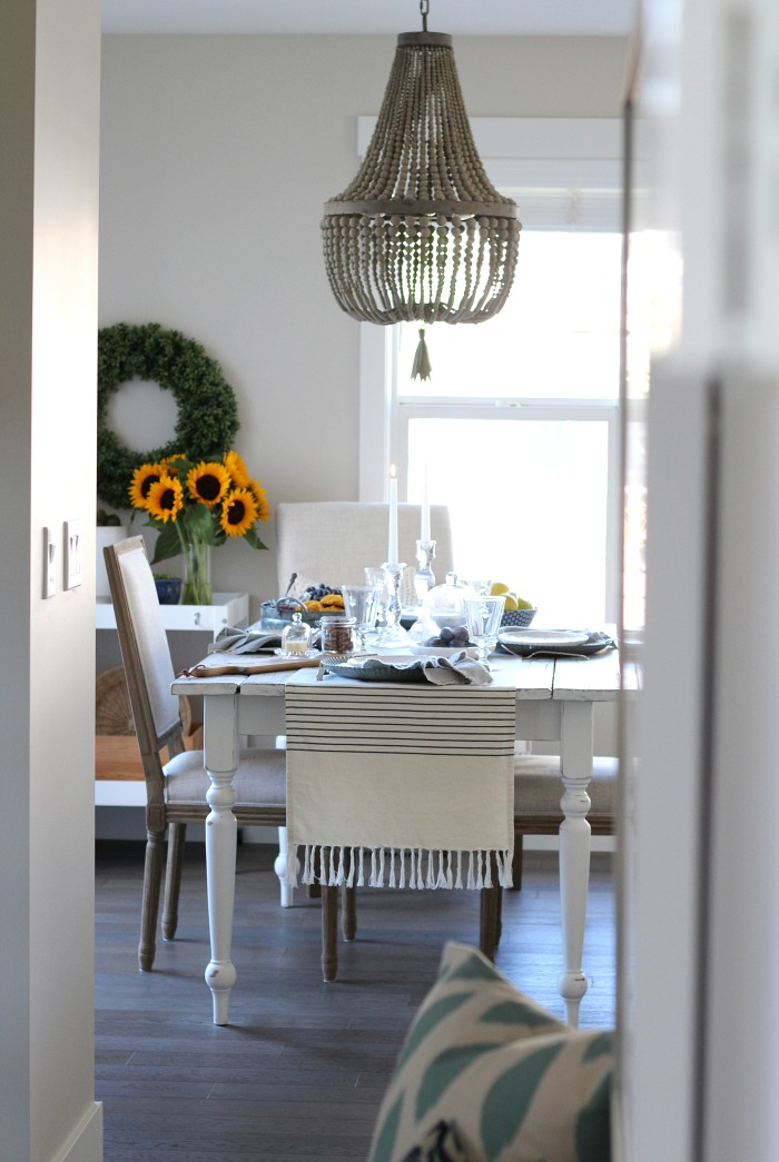Fall Home Tour - French Countryside Style Fall Dining Room with Beaded Empire Chandelier - Satori Design for Living