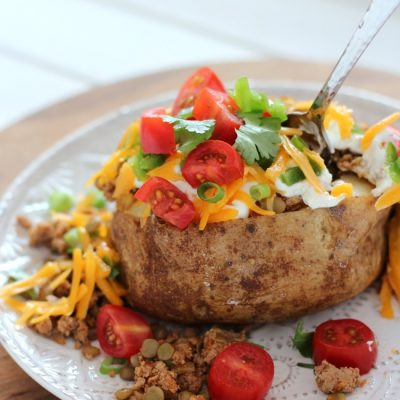 Tex Mex Loaded Baked Potatoes with Turkey and Lentils