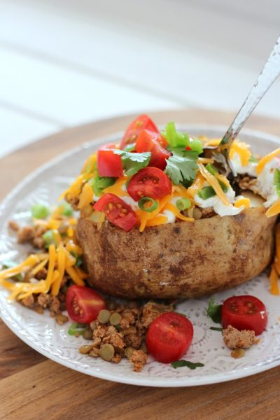 Tex Mex Loaded Baked Potatoes with Turkey and Lentils are a flavourful, healthy and fun meal idea the whole family will love any day of the week!