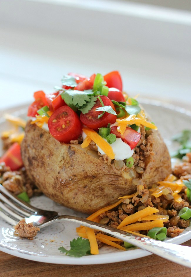 Fall Inspired Recipes - Tex Mex Loaded Baked Potatoes with Turkey and Lentils are a flavourful, healthy and fun meal idea the whole family will love any day of the week!