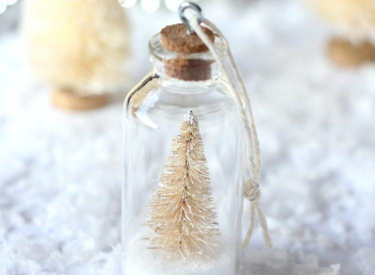 DIY Bottle Brush Tree Ornaments - Mini Bottle Ornaments with Snowy Trees - Satori Design for Living