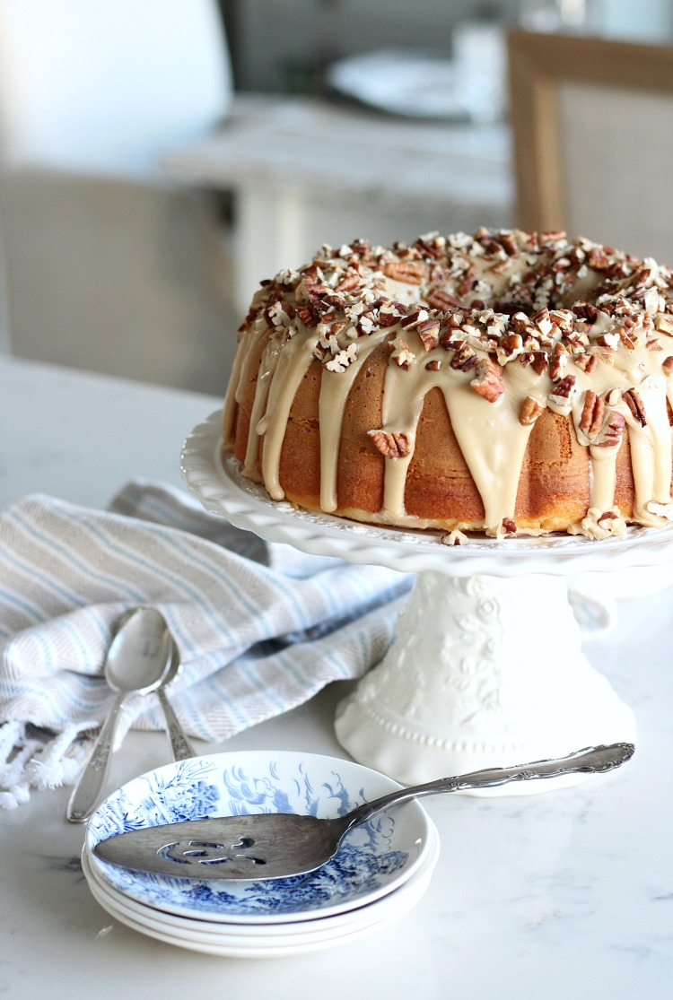 Christmas in the Kitchen - Caramel Pecan Bundt Cake on a Pretty Cakestand - Satori Design for Living