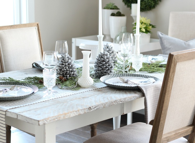 Christmas Home Tour - Dining Room with Whitewashed Farmhouse Table Decorated for Christmas - Satori Design for Living