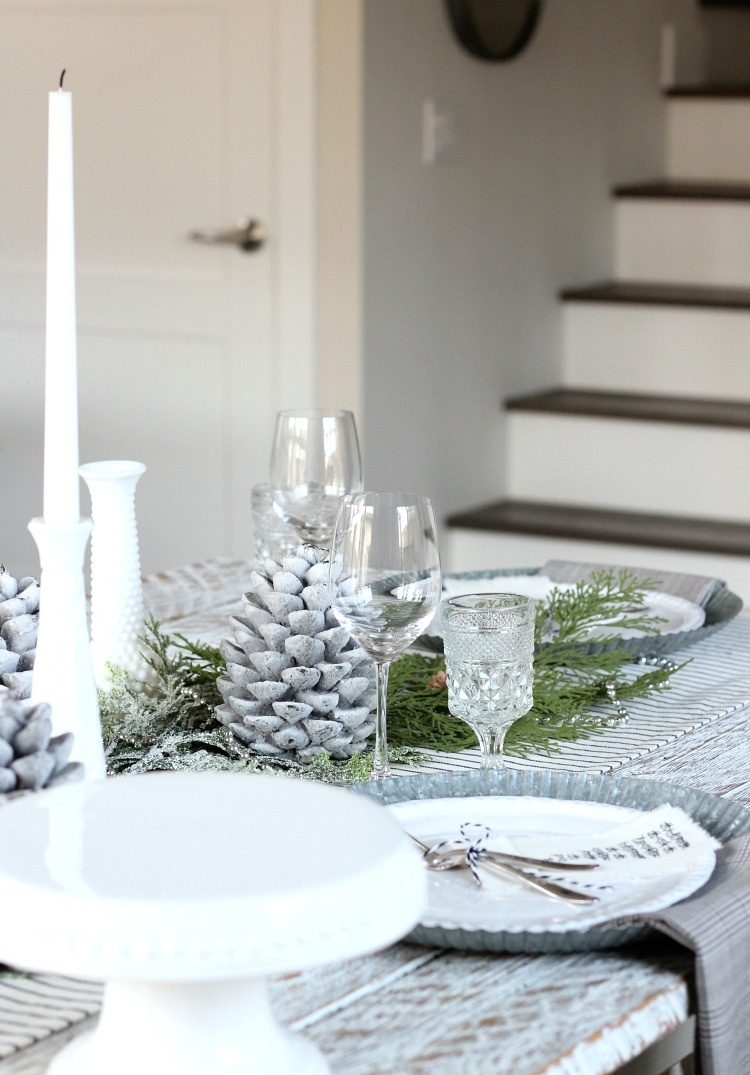 Christmas Home Tour - Farmhouse Dining Room and Hardwood Stairs with Painted Risers - Satori Design for Living