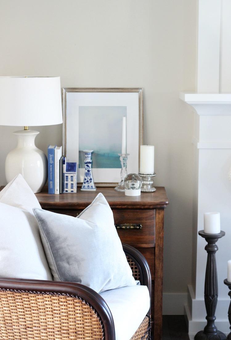 Christmas Home Tour - Blue and White Living Room Decor - Satori Design for Living