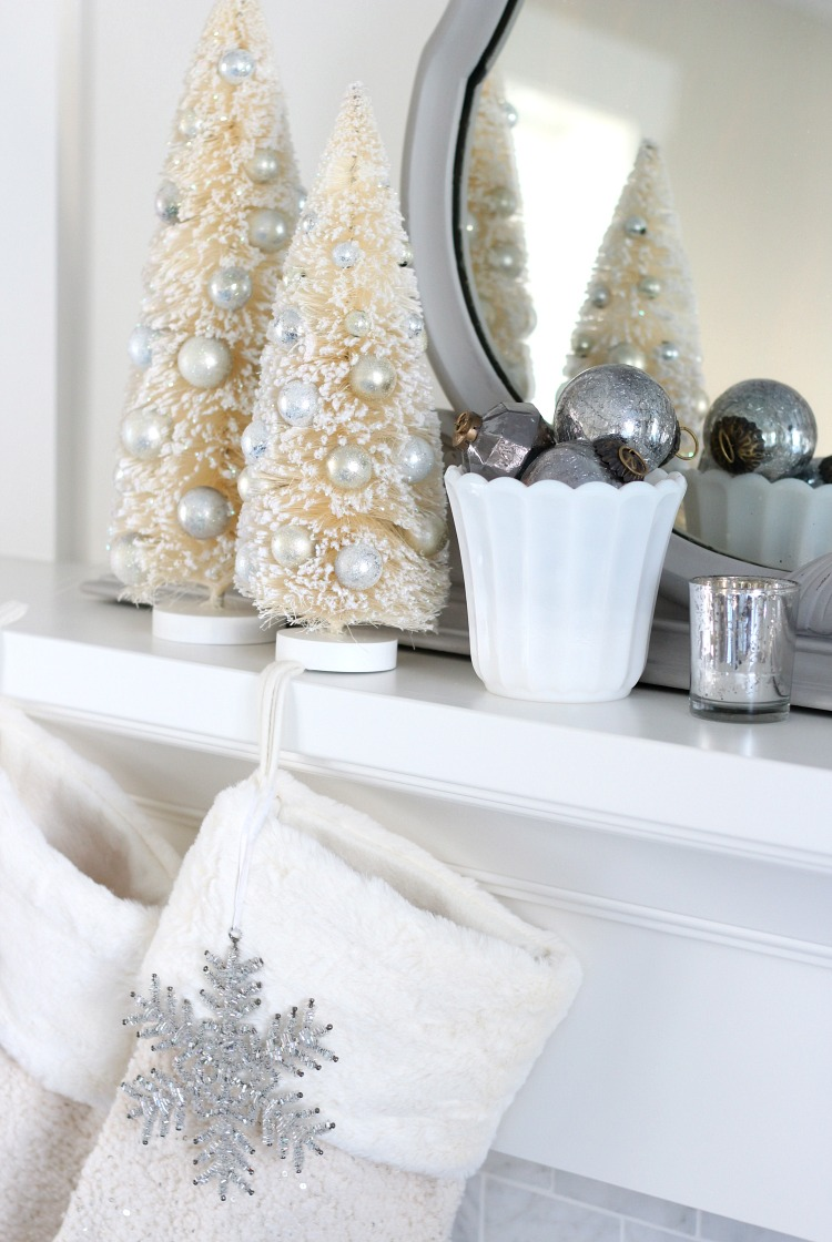 Christmas Home Tour - Mantel Decorated with Bottle Brush Trees, Milkglass and Handblown Ornaments - Satori Design for Living