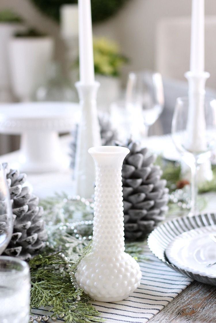 Christmas Home Tour - Vintage Milk Glass Collection Table Decor - Satori Design for Living