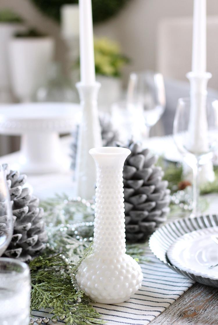 Christmas Home Tour - Vintage Milk Glass Collection as Table Decor - Satori Design for Living