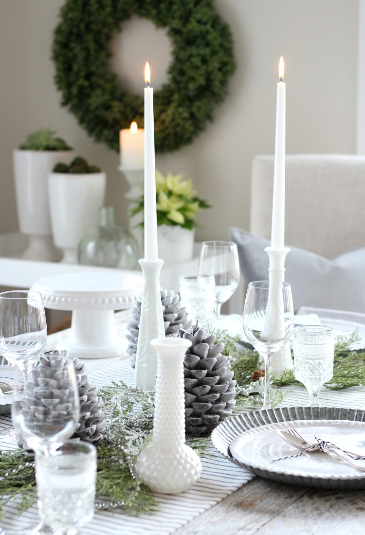 Christmas Home Tour - Vintage Milk Glass Table Decor with Tapered Candles - Satori Design for Living