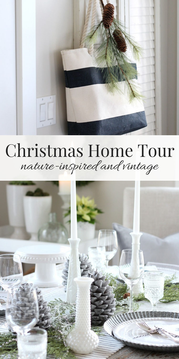 This Christmas home tour is so pretty with its nature-inspired decor and vintage touches. Check out more!