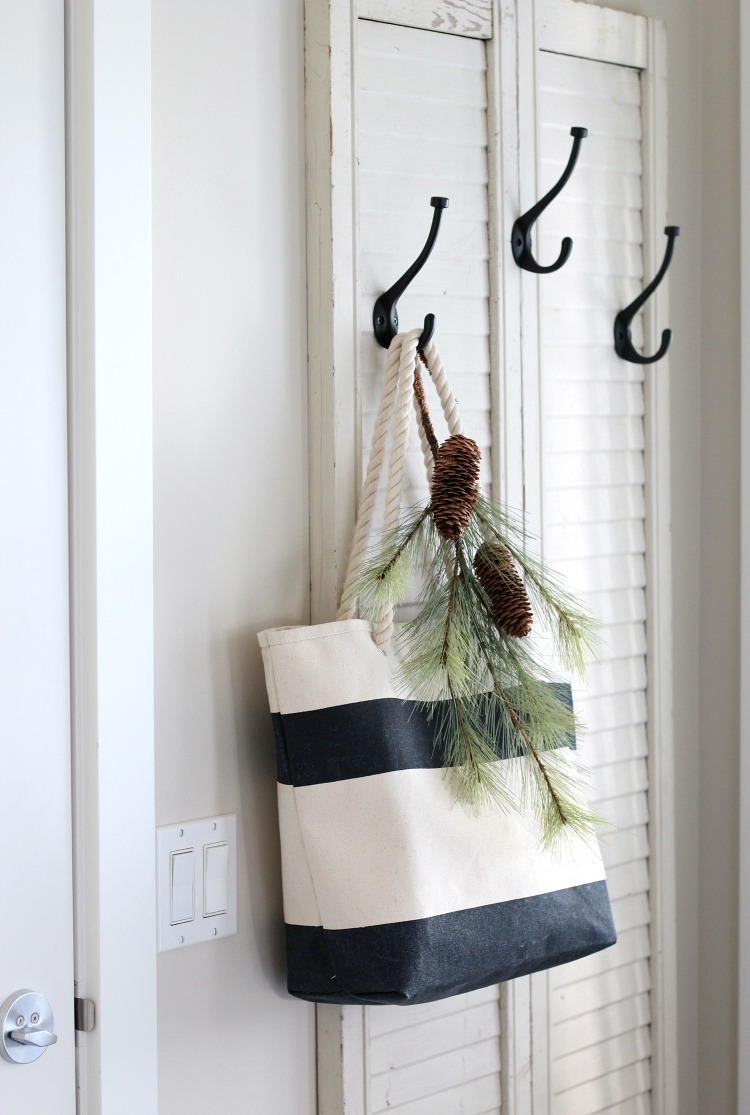 Christmas Home Tour - Coat Hanger Made with Repurposed Shutters and Hooks - Satori Design for Living