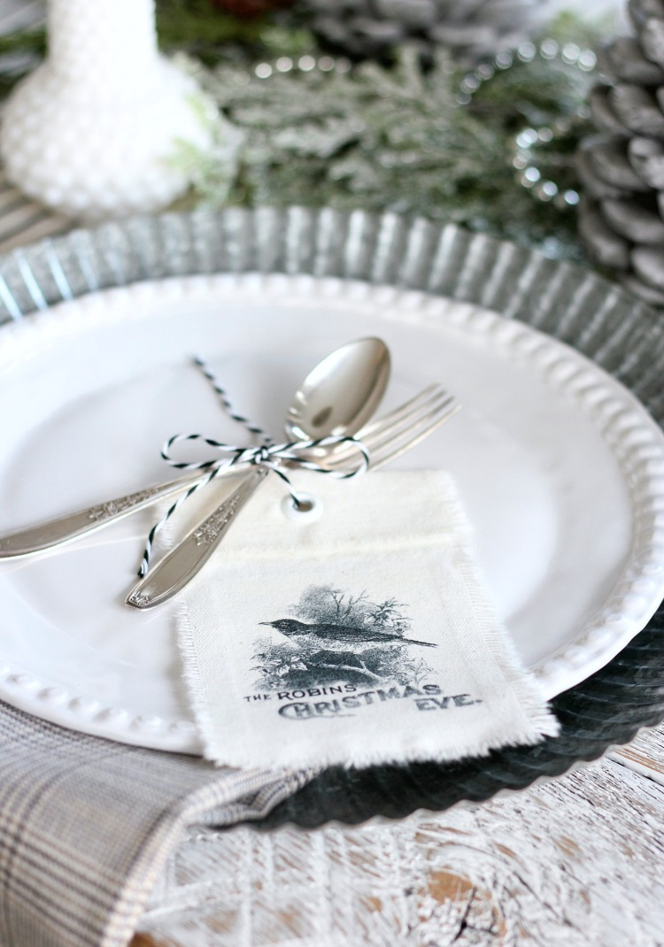 Christmas Home Tour - Vintage Farmhouse Place Setting with Handprinted Tags - Satori Design for Living