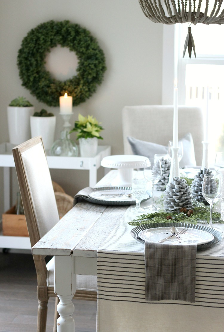 Christmas Home Tour - Vintage Farmhouse Table Setting with Beaded Chandelier - Satori Design for Living