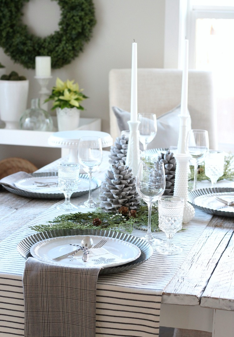 Christmas Home Tour - Vintage Farmhouse Tablescape with Galvanized Chargers - Satori Design for Living