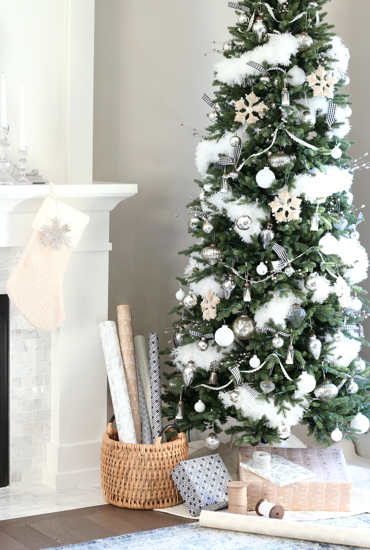 Christmas Home Tour - Vintage Inspired White and Silver Christmas Tree - Satori Design for Living
