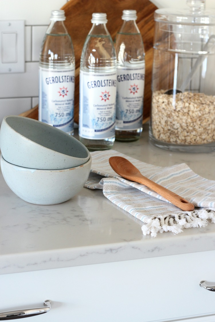 Christmas Home Tour - White Kitchen Cabinets with Subway Tile Backsplash and Marble Quartz Countertops - Satori Design for Living