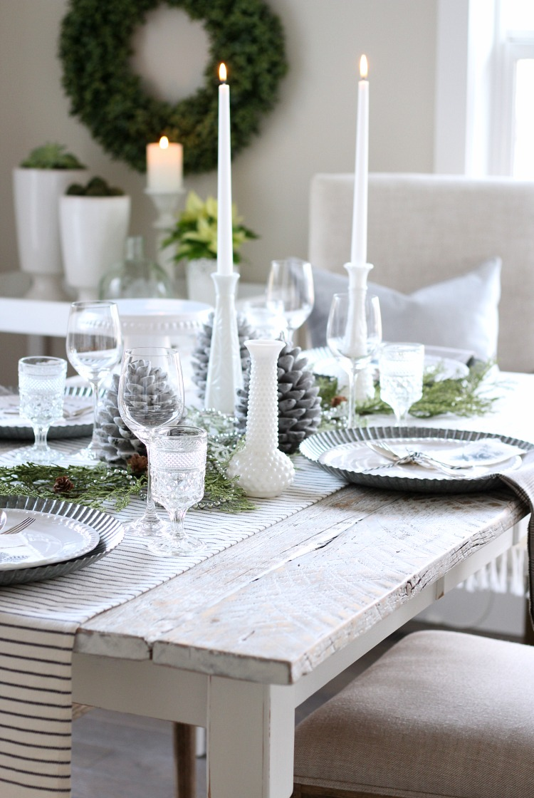 Christmas Home Tour - White Farmhouse Style Table Setting with Milk Glass Vases - Satori Design for Living
