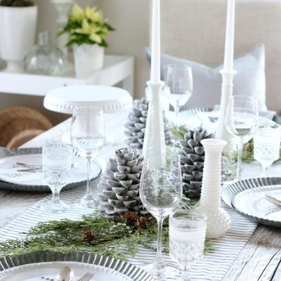 Christmas Home Tour - White Table Setting with Greenery - Satori Design for Living