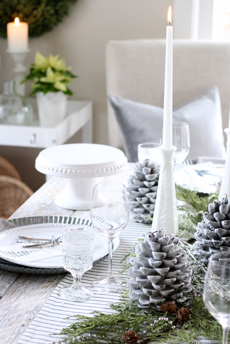Christmas Home Tour - Winter White Christmas Table Setting with Greenery - Satori Design for Living