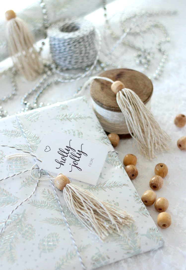 DIY Shabby Chic Tassel Christmas Gift Topper - Boho Gift Decorations - Satori Design for Living