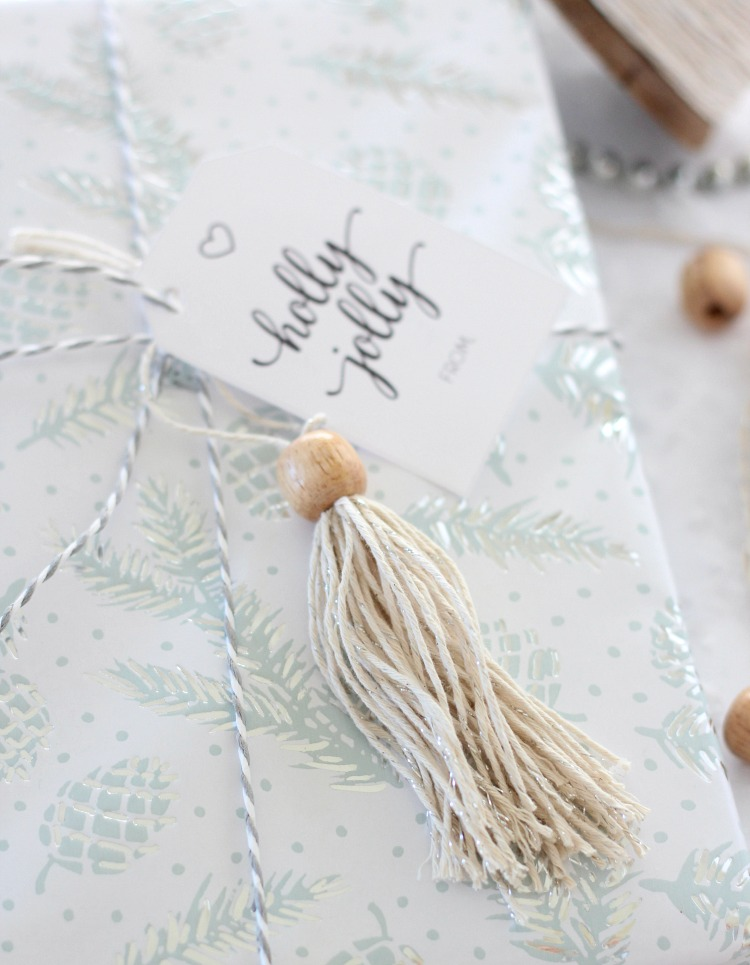 DIY Shabby Chic Tassel Gift Topper - Christmas Gift Wrapping Ideas - Satori Design for Living