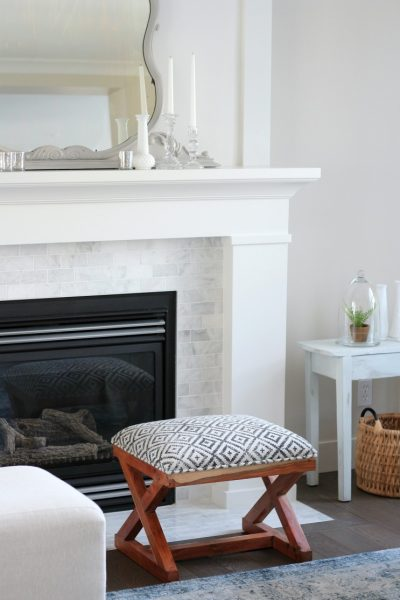 Benjamin Moore White Dove Fireplace - Shaker Style Fireplace with Marble Subway Tile Surround - Satori Design for Living
