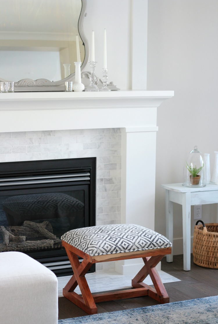 Benjamin Moore White Dove Fireplace And Trim Shaker Style With Marble Subway Tile Surround