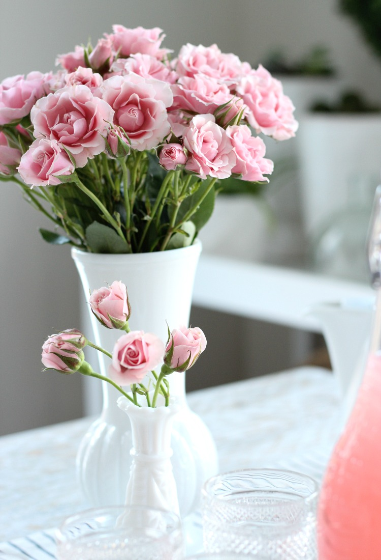 GALentine's Day Table Decor - Pink Spray Roses in Milk Glass Vases - Satori Design for Living