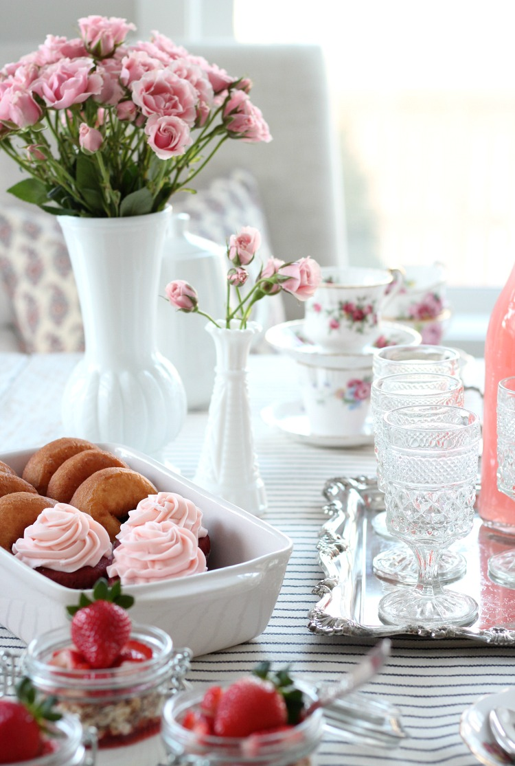GALentine's Day Tea Party Ideas - Pink Roses and Vintage Table Decor - Satori Design for Living