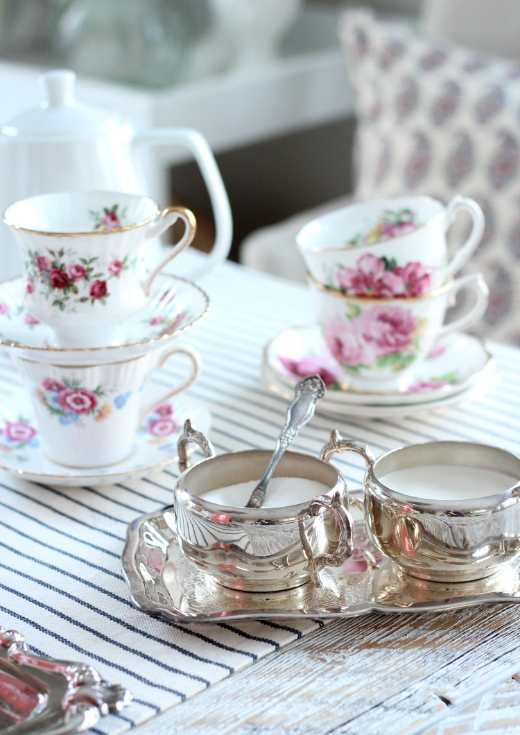 GALentine's Day Tea Party with Vintage Floral Tea Cups and Silver Trays - Satori Design for Living