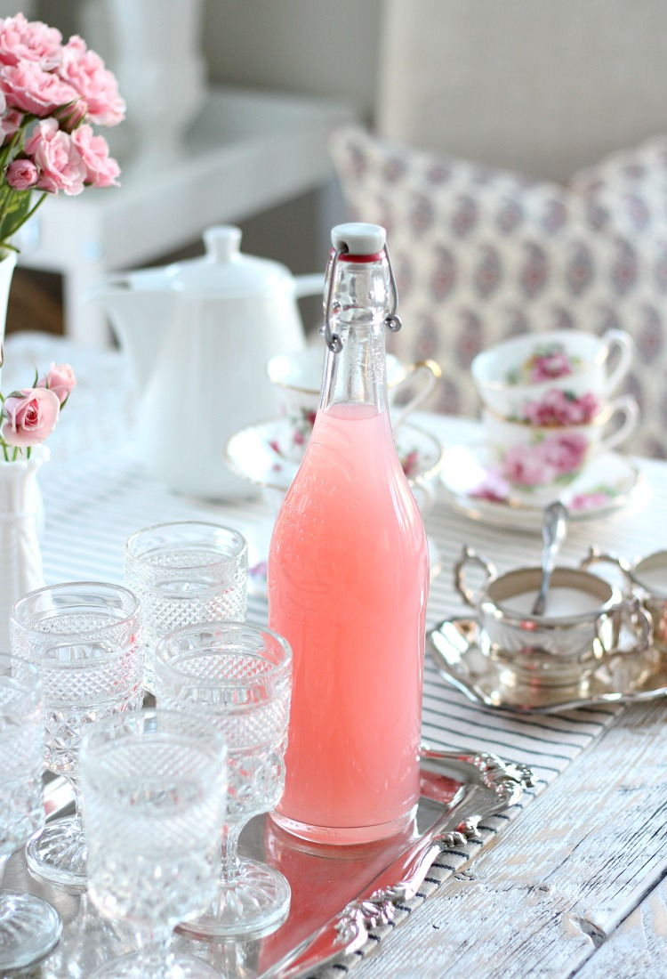 Valentine's Day Party Ideas - Pink Lemonade with Thrifted Vintage Pressed Glass Goblets and Silver Tray - Satori Design for Living