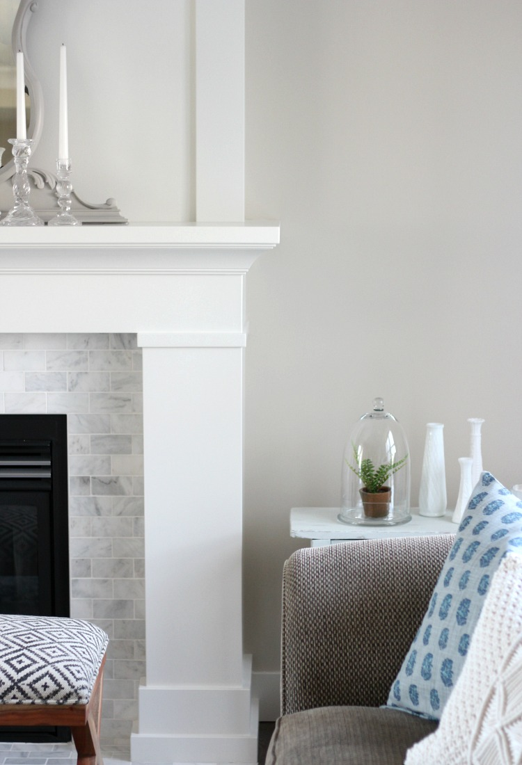 Benjamin Moore White Dove Fireplace Mantel (OC-17) and Baseboards - Satori Design for Living