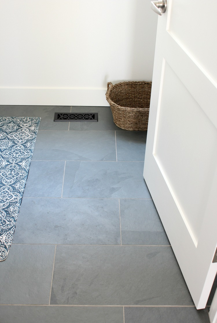 Benjamin Moore White Dove Walls with Brazilian Slate Floor in the Laundry Room