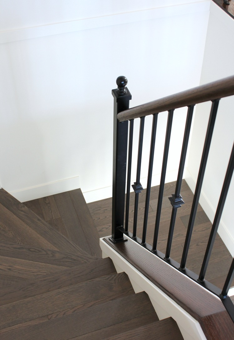 Benjamin Moore White Dove Staircase - White Dove Painted Stair Risers - Satori Design for Living