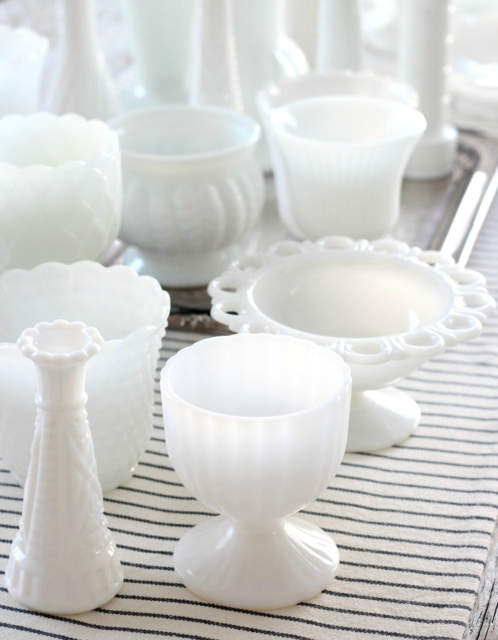 White Milk Glass Collection with Vases, Pots and Goblets