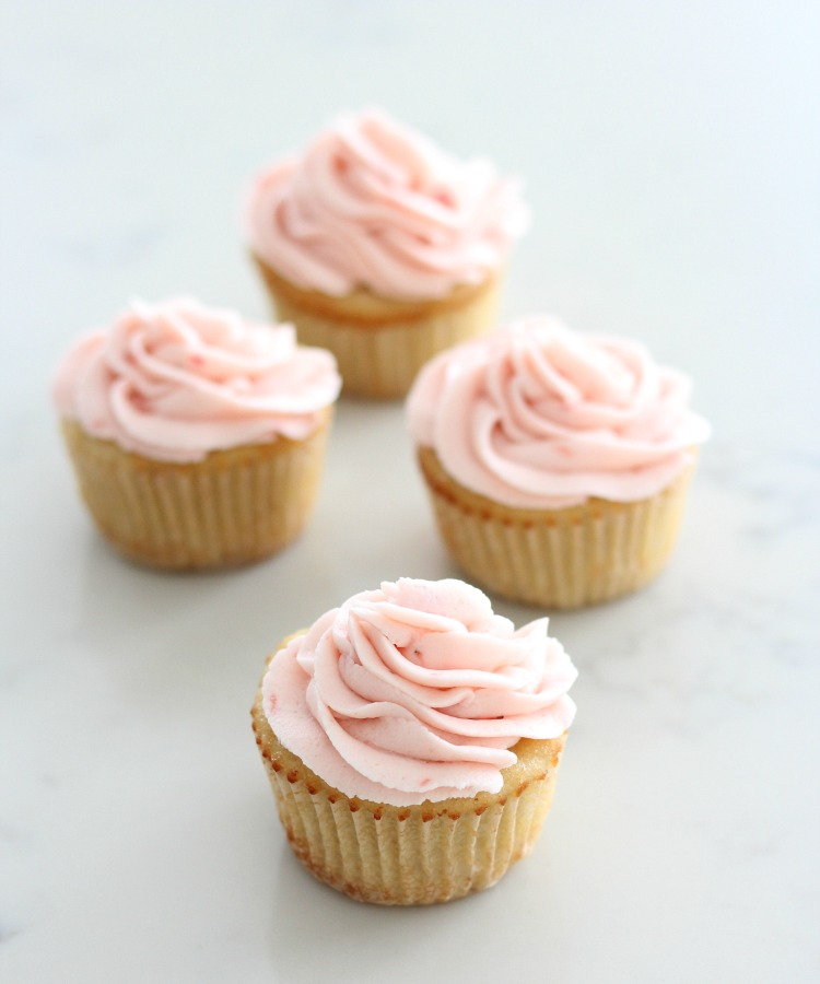 Almond Cupcakes with Fresh Strawberry Buttercream - Moist and Delicious Gluten-free Cupcakes