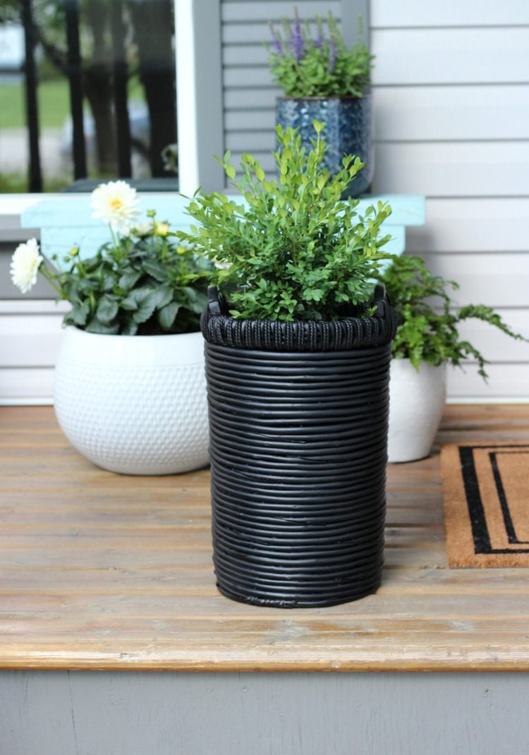Decorating with Thrift Store Finds - Outdoor Basket Planter with Boxwood - Satori Design for Living