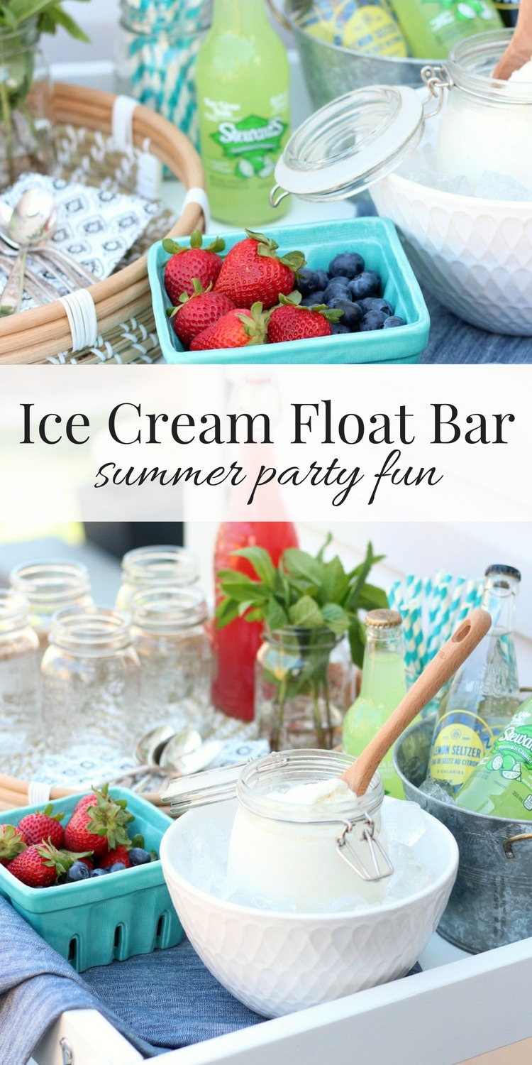 Put together an ice cream float bar for dessert this summer. A fun, easy and delicious outdoor entertaining idea!