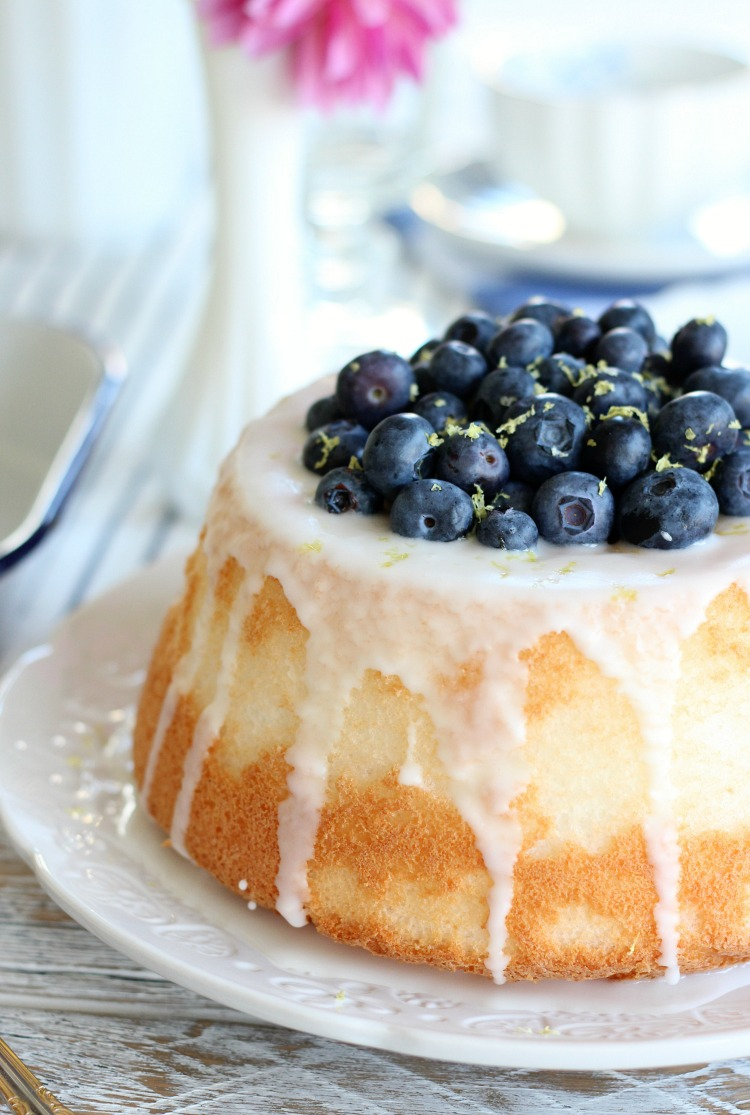 This blueberry lemon angel food cake is a delicious showstopper that's easy to throw together. Perfect for any celebration or just-because!