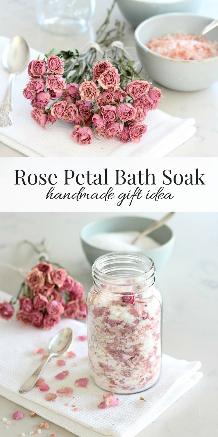 Put together a jar of rose petal bath soak to keep or give away. A luxurious way to relax and unwind after a long day!
