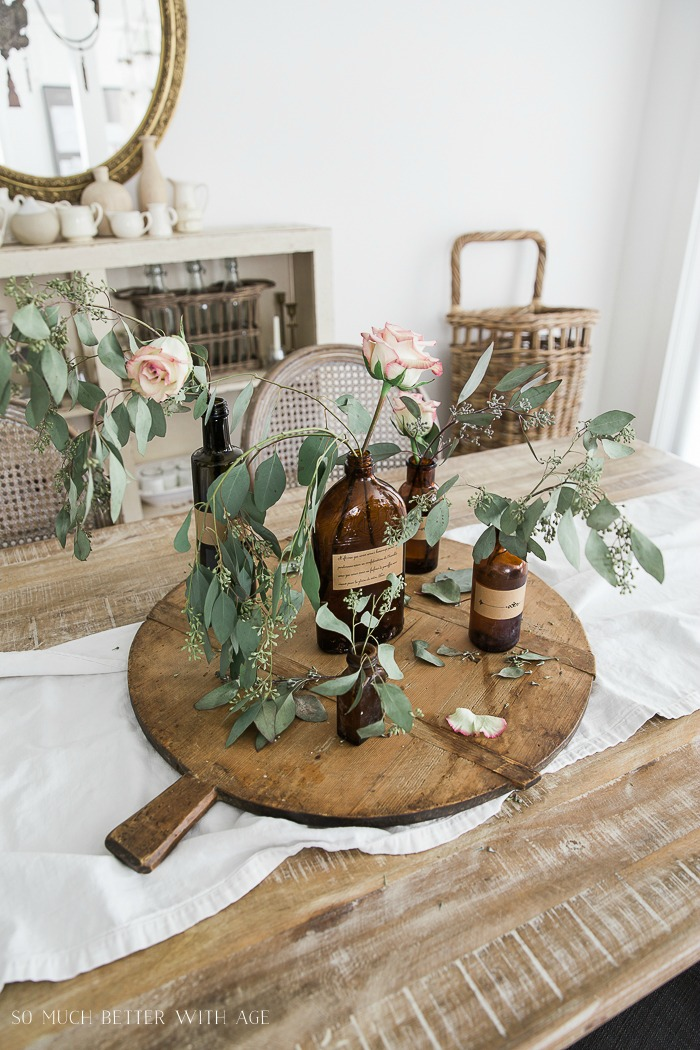 Brown Bottles with Antique Labels Floral Display - French Vintage Decor by Jamie Lundstrom