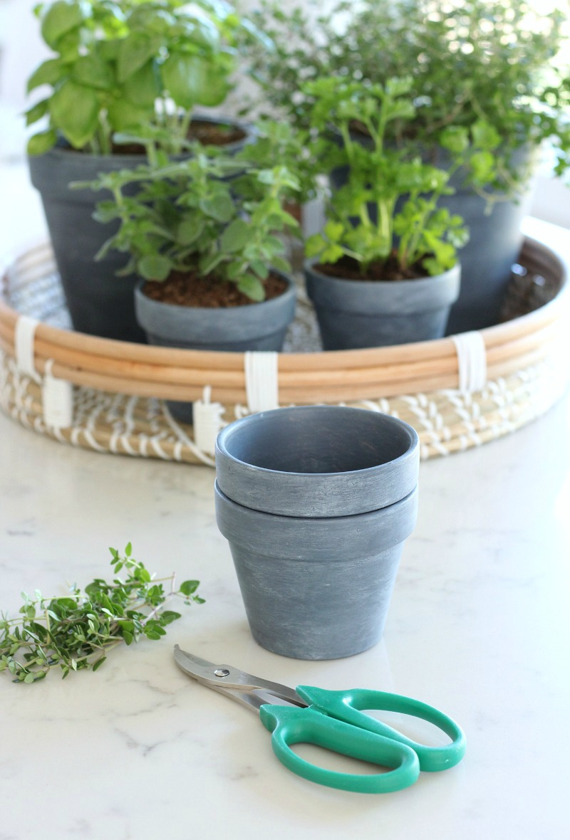 How to Make Concrete Painted Pots - DIY French Vintage Decor Project - Satori Design for Living