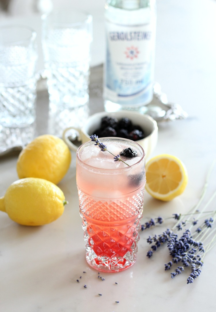 Fresh Herb Summer Cocktail Recipes - Lavender and Blackberry Sparkling Lemonade by Satori Design for Living