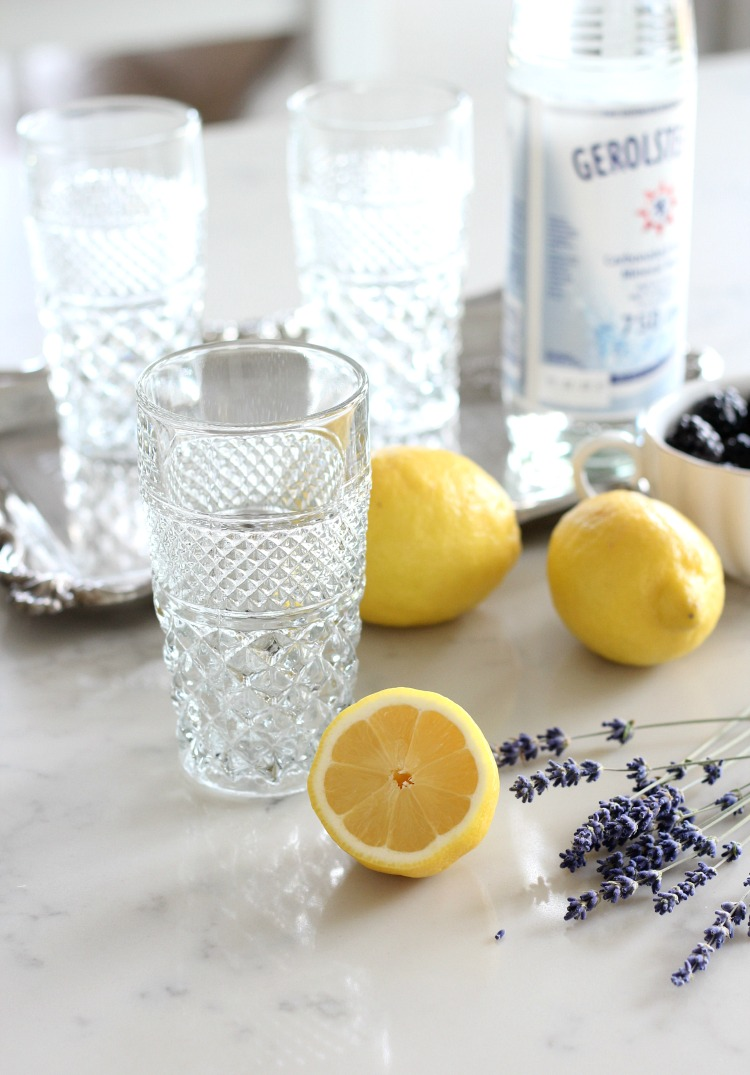 How to Make Lavender Blackberry Sparkling Lemonade - Vintage Wexford Tumblers by Anchor Hocking - Satori Design for Living