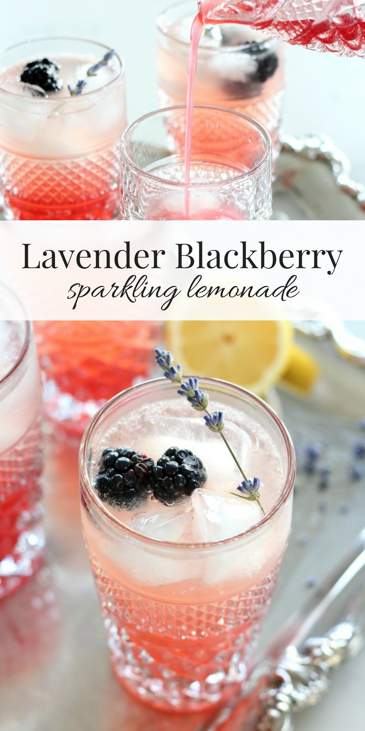 Impress your guests with this lavender blackberry sparkling lemonade. A beautiful, delicious and refreshing summer drink recipe! #summerdrink #summercocktail #lavender