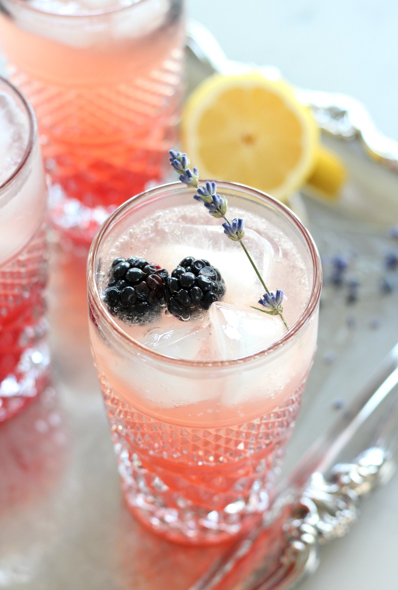Lavender and Blackberry Sparkling Lemonade in a Vintage Glass