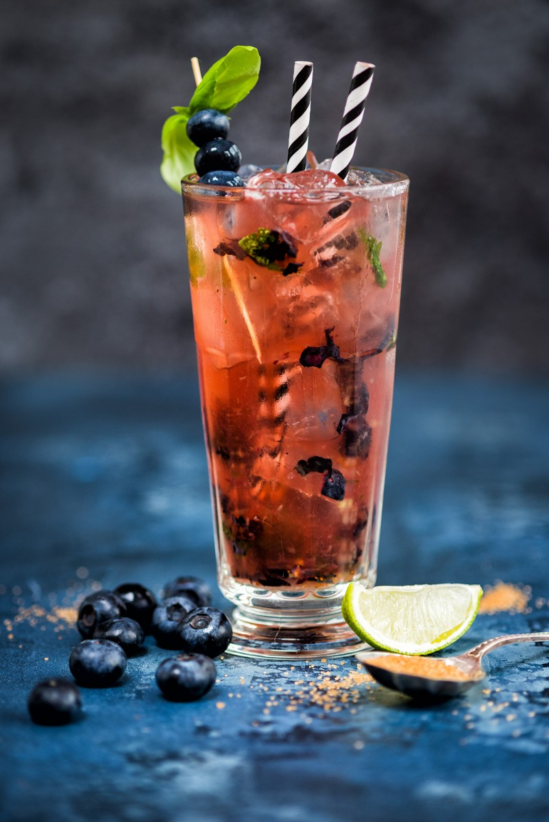Fresh Herb Summer Cocktail Recipes - Blueberry Basil Moscow Mule by Supergolden Bakes