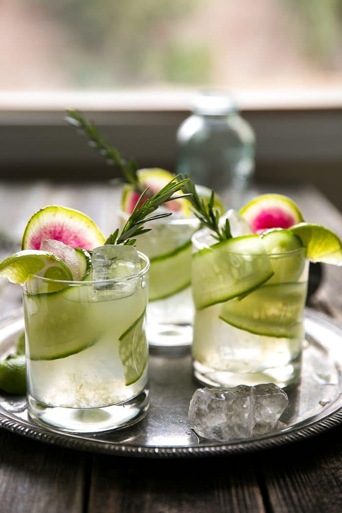 Fresh Herb Summer Cocktail Recipes - Cucumber Rosemary Gin and Tonic with Watermelon Radish Garnish by The Forked Spoon